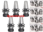 5PC BT40 ER32 PRECISION COLLET CHUCK and 12PC ER32 COLLETS in TENTH