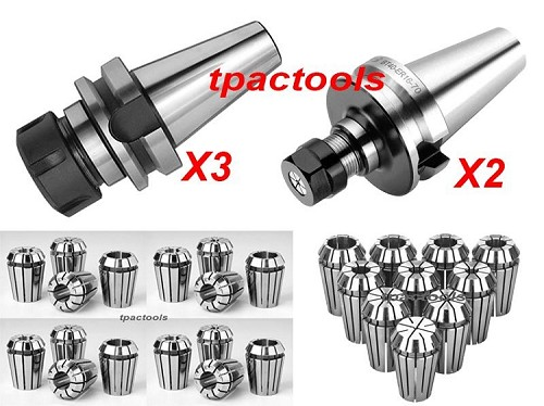 2PC BT40 ER16 3PC BT40 ER32 PRECISION COLLET CHUCK 10PC ER16 12PC ER32 COLLETS