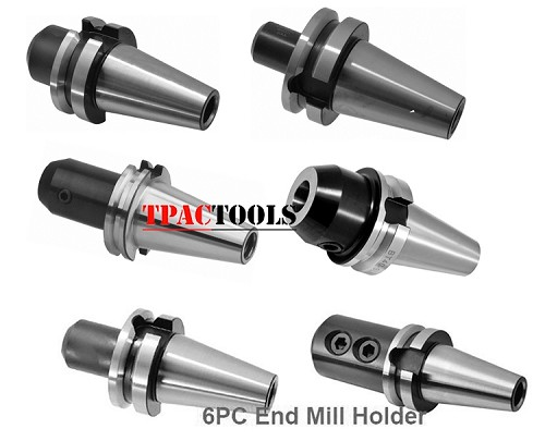 BT40 END MILL HOLDER 6PC SET 1/4 3/8 1/2 5/8 3/4 1 PRE BANLANCED New