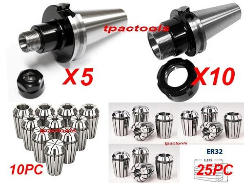 HAAS or MAZAK CAT40 10PC ER32 5PC ER16 COLLET CHUCK AND 35PC COLLETS PACKAGE NEW